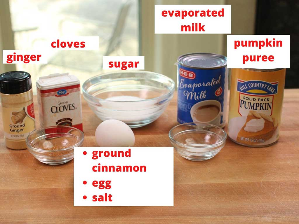 ingredients found in a pumpkin pie filling labeled and on a brown table.