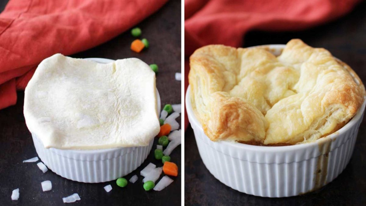 puff pastry topping a small white ramekin.