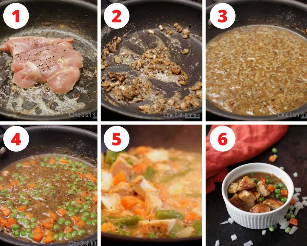Six pictures of chicken cooking in a pan along with a gravy with vegetables.