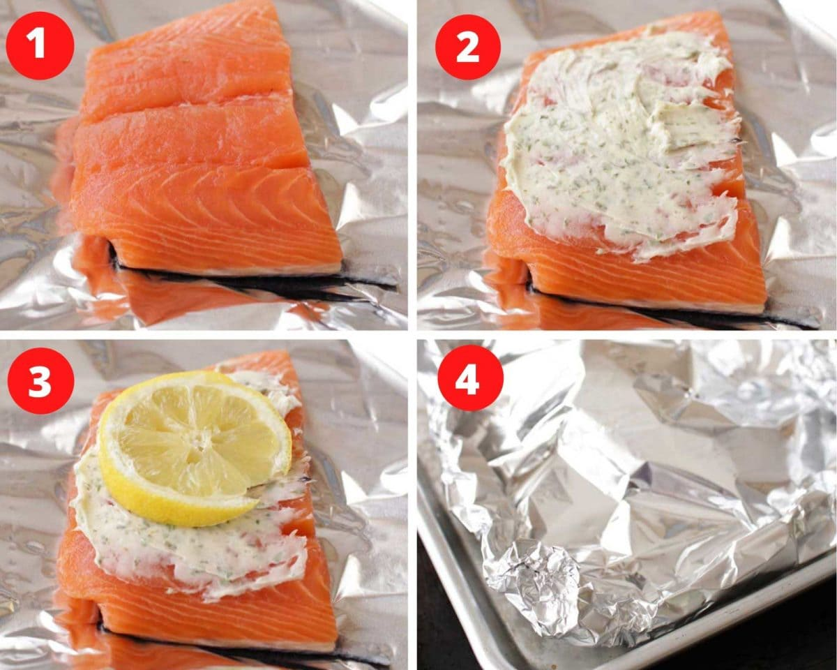 a piece of salmon on foil topped with soften butter and herbs and a slice of lemon