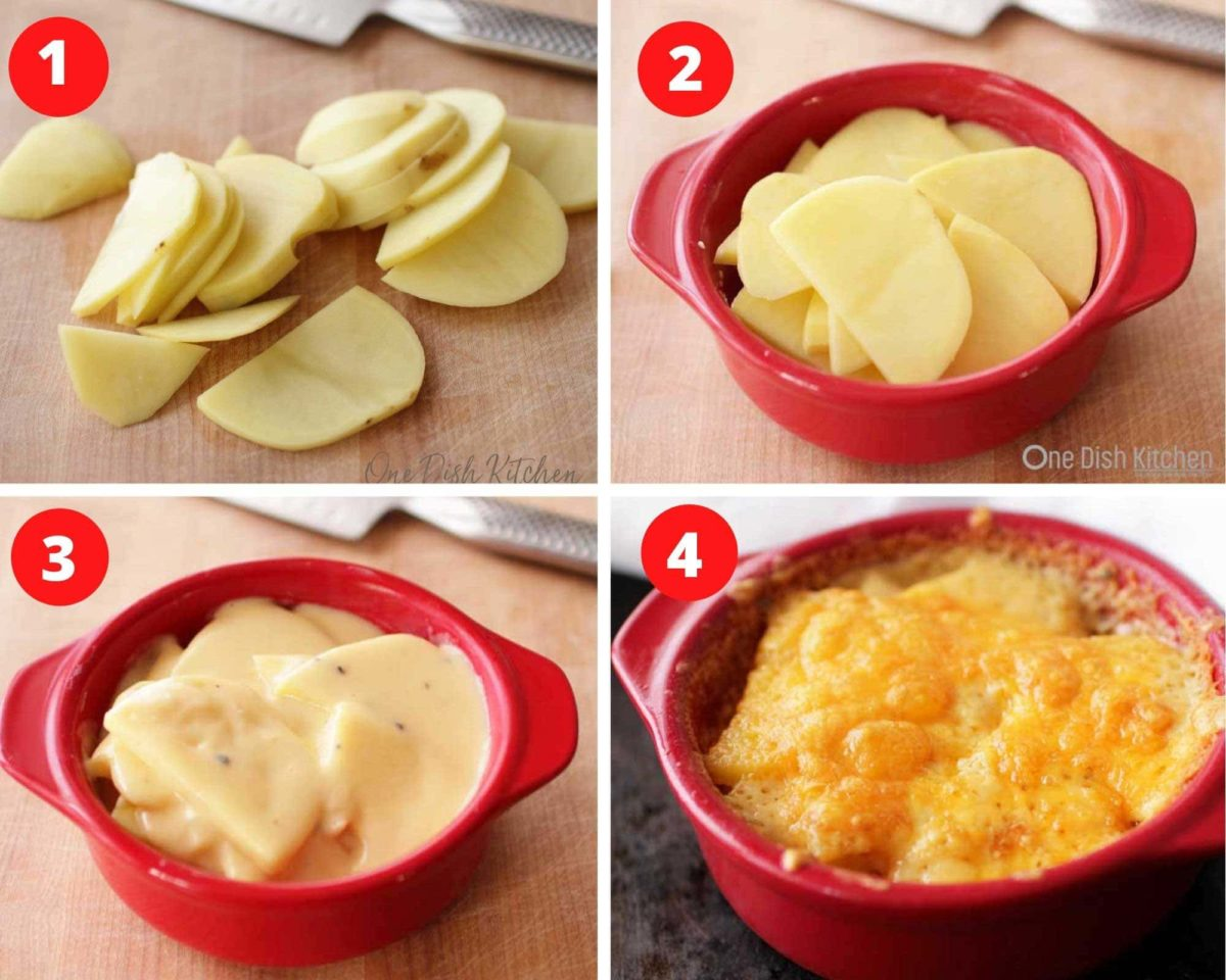 four photos showing the steps involved in making scalloped potatoes.