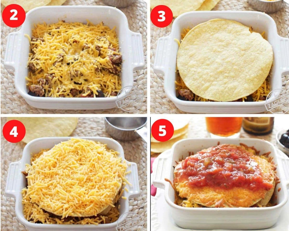 layering ingredients for a taco casserole in a small white square dish