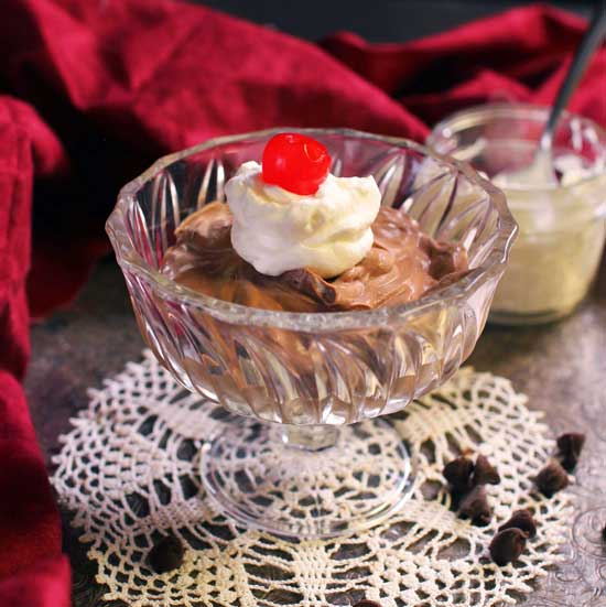 chocolate mousse made with two ingredients in a bowl