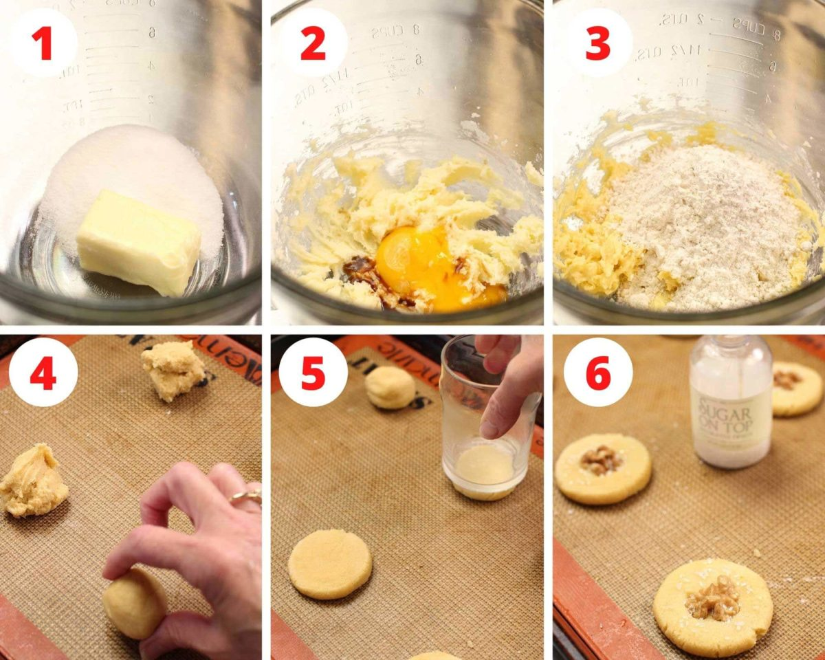 Six photos showing how to make butter cookies.