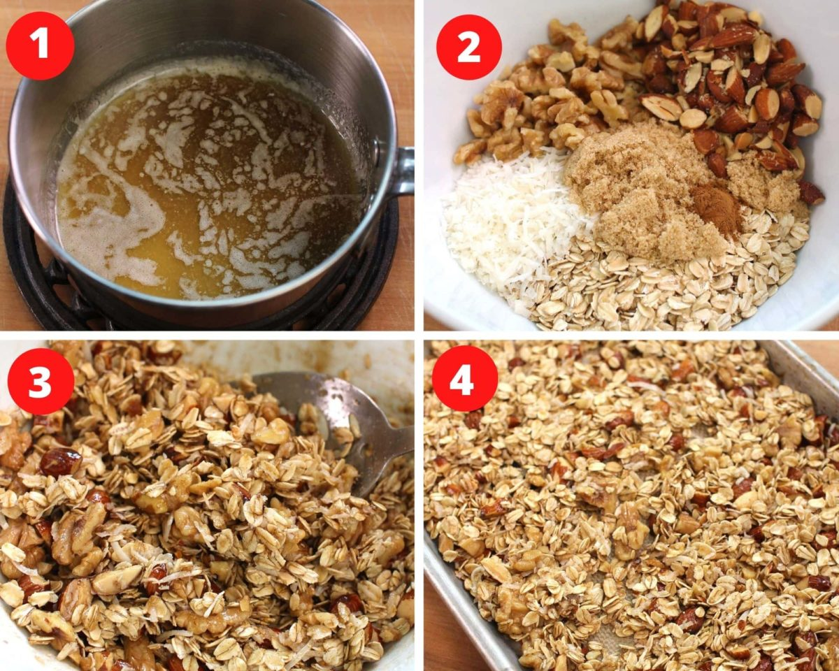 Four numbered pictures showing how to make granola.