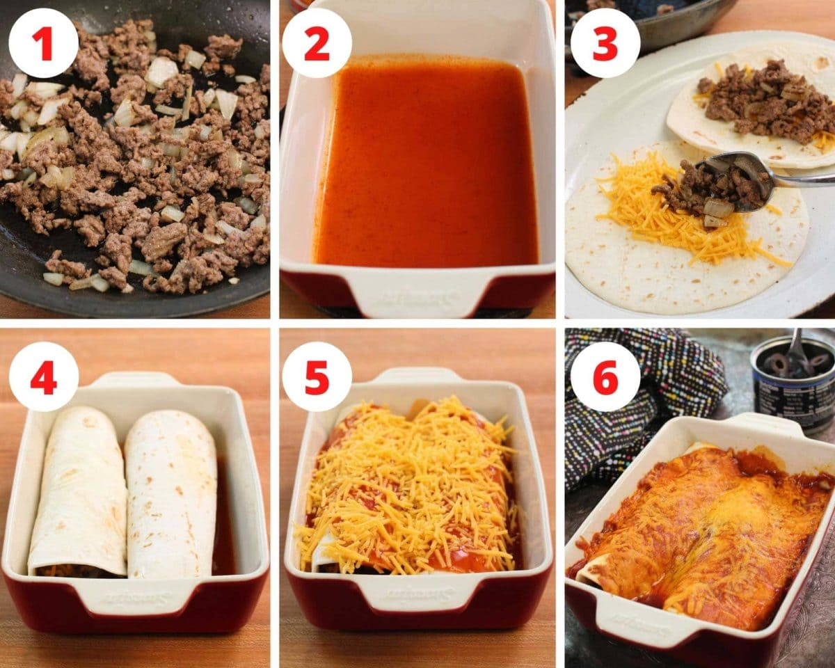 six photos showing the steps involved in making beef enchiladas.