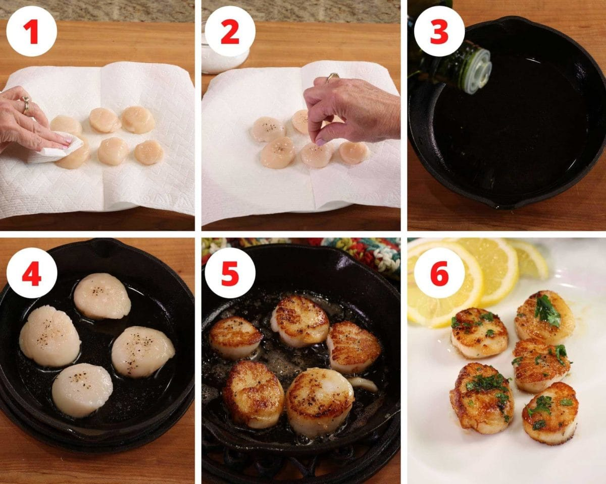 six photos showing scallops cooking in a cast iron skillet.