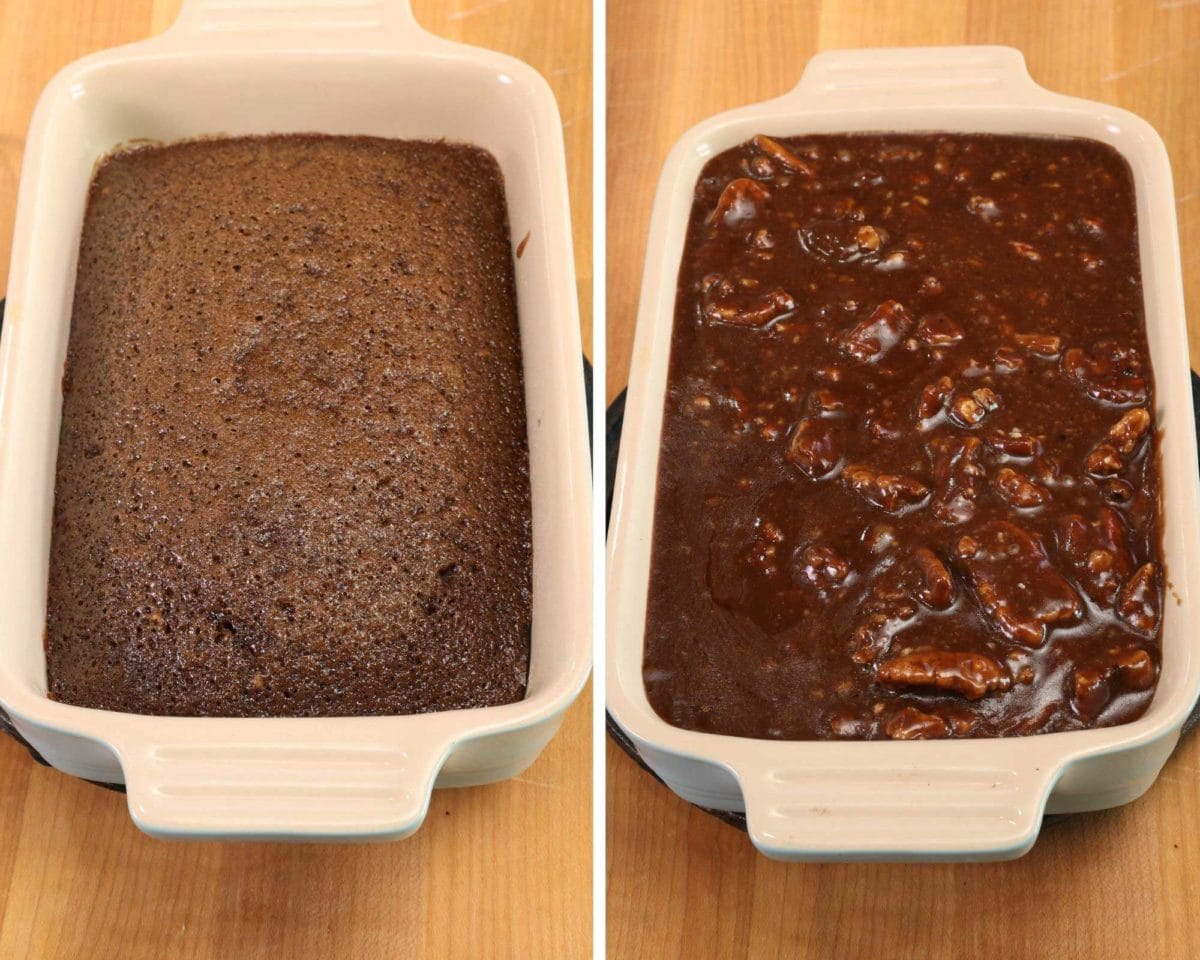 two photos side by side of a mini sheet cake with and without frosting.
