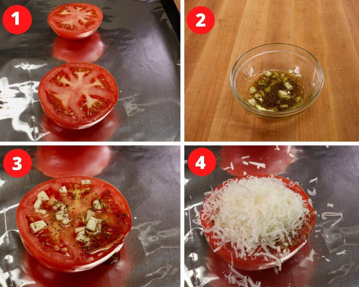 one tomato sliced in half and topped with garlic, olive oil, and parmesan cheese