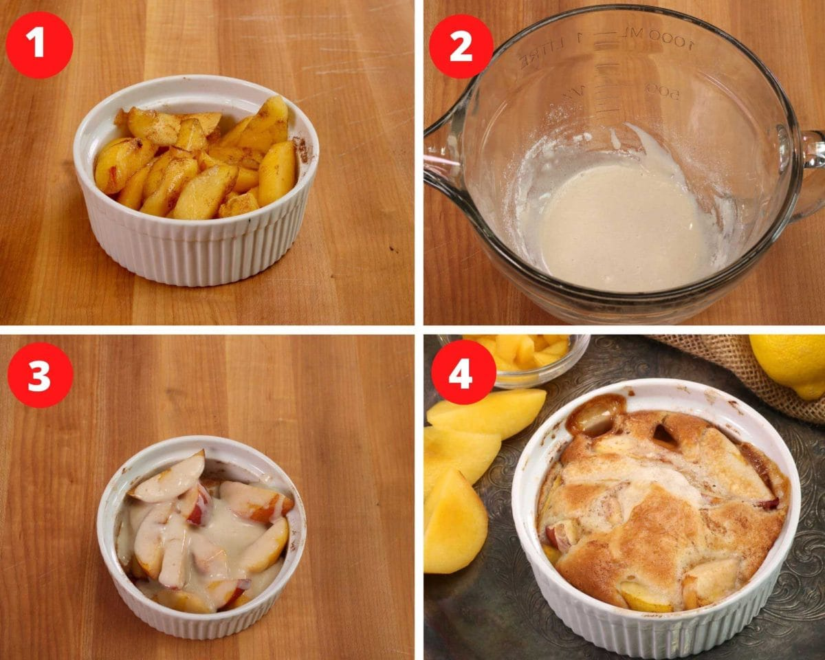 four photos showing how to make a single serving peach cobbler: peaches in a bowl, mixing the batter for the topping, pouring the topping over the peaches and baked cobbler