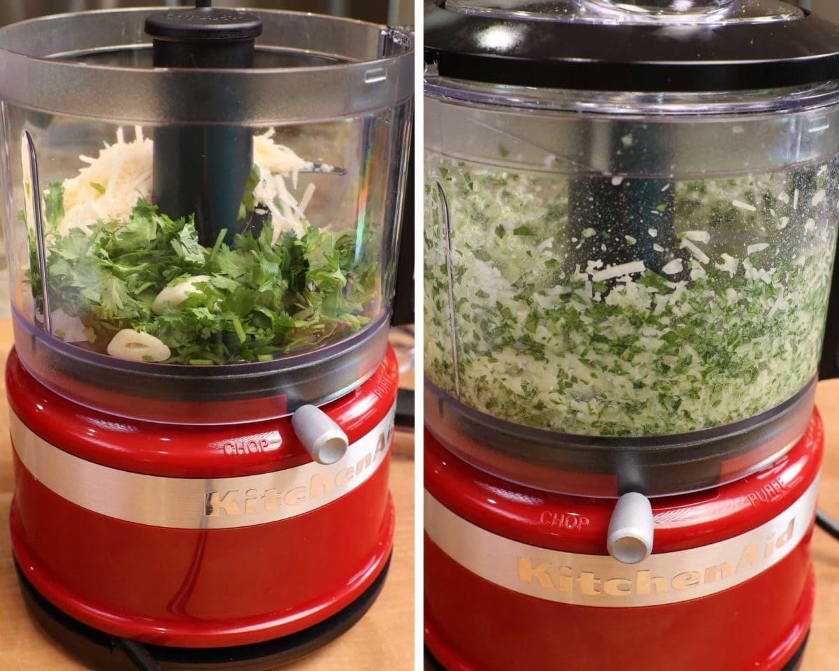onions, garlic, cheese and parsley in a food processor