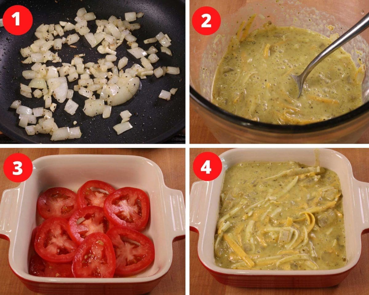 four photos showing onions cooking in a skillet, eggs and cream whisked together in a small mixing bowl with pesto, sliced tomatoes lining a baking dish, and a quiche in a baking dish before being baked