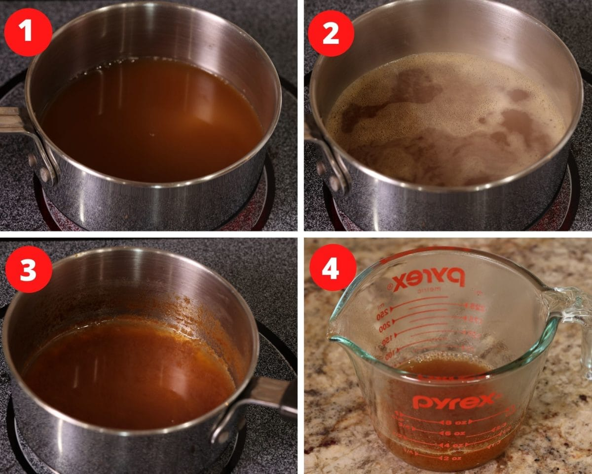 four photos showing how to make an apple cider reduction