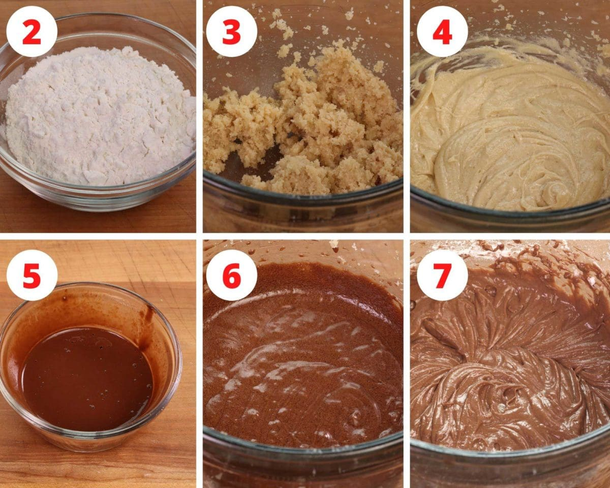 six steps showing how to make the batter for a devils food cake