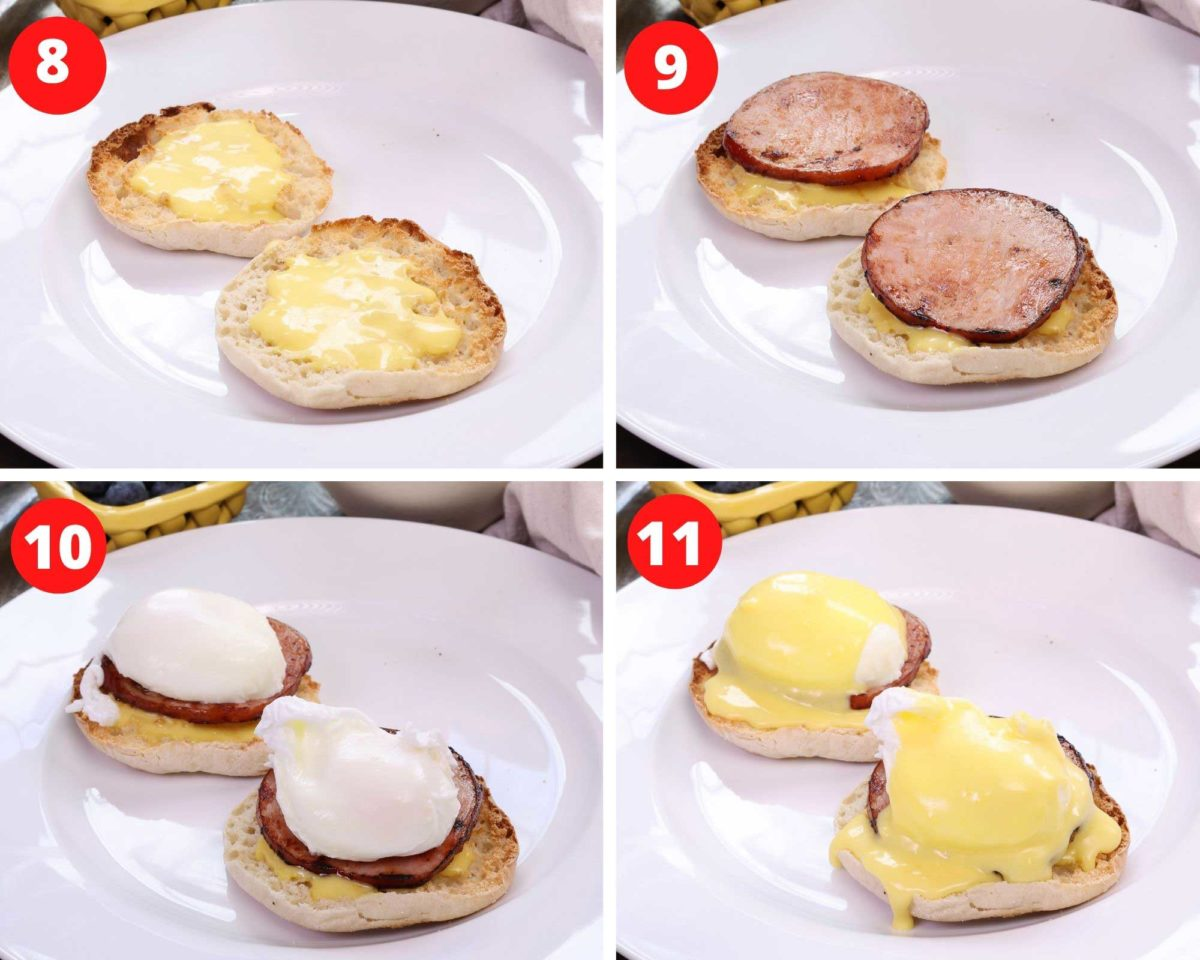 four photos showing how to assemble an eggs benedict