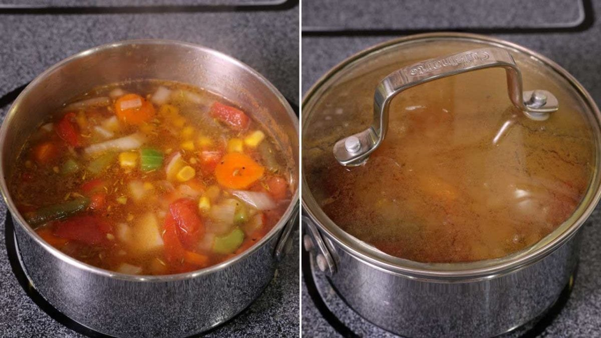 vegetable soup in a small pot on the stove